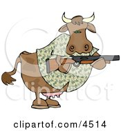 Camouflaged Cow Holding A Hunting Rifle