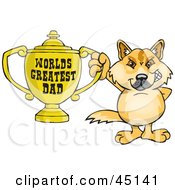 Royalty Free RF Clipart Illustration Of A Dingo Character Holding A Golden Worlds Greatest Dad Trophy by Dennis Holmes Designs