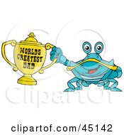 Royalty Free RF Clipart Illustration Of A Crab Character Holding A Golden Worlds Greatest Dad Trophy