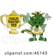 Royalty Free RF Clipart Illustration Of A Dragon Character Holding A Golden Worlds Greatest Dad Trophy