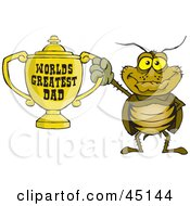 Royalty Free RF Clipart Illustration Of A Cockroach Character Holding A Golden Worlds Greatest Dad Trophy