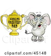 Royalty Free RF Clipart Illustration Of An Elephant Character Holding A Golden Worlds Greatest Dad Trophy by Dennis Holmes Designs