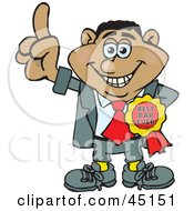 Royalty Free RF Clipart Illustration Of A Hispanic Man Character Wearing A Best Dad Ever Ribbon