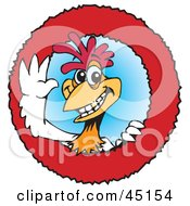Royalty Free RF Clipart Illustration Of A Red And White Rooster Character Logo by Dennis Holmes Designs