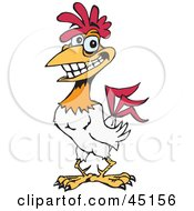 Red And White Rooster Character With Sparkling Teeth