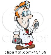 Royalty Free RF Clipart Illustration Of A Medical Doctor Carrying A First Aid Bag And Using A Stethoscope by Dennis Holmes Designs #COLLC45159-0087
