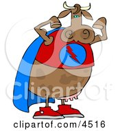 Strong Superhero Cow Wearing A Cape And Flexing Arm Muscles Clipart by Dennis Cox