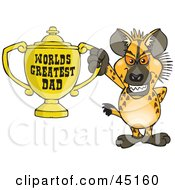 Royalty Free RF Clipart Illustration Of A Hyena Character Holding A Golden Worlds Greatest Dad Trophy