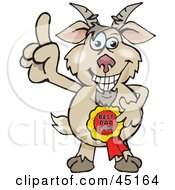 Royalty Free RF Clipart Illustration Of A Goat Character Wearing A Best Dad Ever Ribbon
