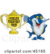 Royalty Free RF Clipart Illustration Of A Marley Marlin Character Holding A Golden Worlds Greatest Dad Trophy by Dennis Holmes Designs