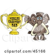 Royalty Free RF Clipart Illustration Of A Mammoth Character Holding A Golden Worlds Greatest Dad Trophy