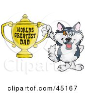 Royalty Free RF Clipart Illustration Of A Husky Dog Character Holding A Golden Worlds Greatest Dad Trophy by Dennis Holmes Designs