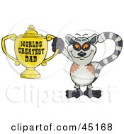 Royalty Free RF Clipart Illustration Of A Lemur Character Holding A Golden Worlds Greatest Dad Trophy