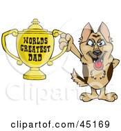 Royalty Free RF Clipart Illustration Of A German Shepherd Dog Character Holding A Golden Worlds Greatest Dad Trophy by Dennis Holmes Designs