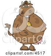 Poster, Art Print Of Anthropomorphic Laughing Cow Wearing A Bell