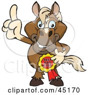 Royalty Free RF Clipart Illustration Of A Horse Character Wearing A Best Dad Ever Ribbon by Dennis Holmes Designs