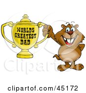 Royalty Free RF Clipart Illustration Of A Gopher Character Holding A Golden Worlds Greatest Dad Trophy