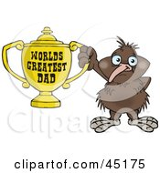 Kiwi Bird Character Holding A Golden Worlds Greatest Dad Trophy