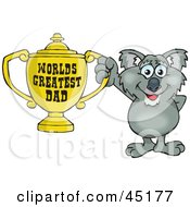 Royalty Free RF Clipart Illustration Of A Koala Character Holding A Golden Worlds Greatest Dad Trophy