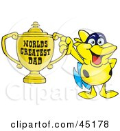 Royalty Free RF Clipart Illustration Of A Yellow Marine Fish Character Holding A Golden Worlds Greatest Dad Trophy