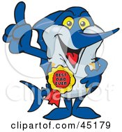 Royalty Free RF Clipart Illustration Of A Marley Marlin Character Wearing A Best Dad Ever Ribbon by Dennis Holmes Designs