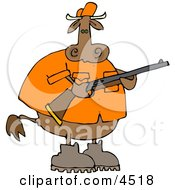 Male Cow Hunter Holding A Hunting Rifle Clipart