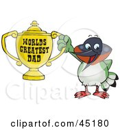 Royalty Free RF Clipart Illustration Of A Hummingbird Character Holding A Golden Worlds Greatest Dad Trophy