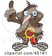 Royalty Free RF Clipart Illustration Of A Kiwi Bird Character Wearing A Best Dad Ever Ribbon