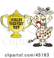 Royalty Free RF Clipart Illustration Of A Giraffe Character Holding A Golden Worlds Greatest Dad Trophy by Dennis Holmes Designs