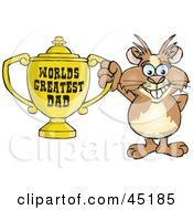 Royalty Free RF Clipart Illustration Of A Guinea Pig Character Holding A Golden Worlds Greatest Dad Trophy