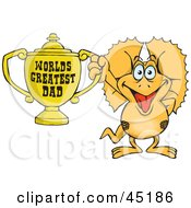 Royalty Free RF Clipart Illustration Of A Frilled Lizard Character Holding A Golden Worlds Greatest Dad Trophy