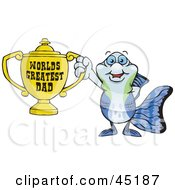 Royalty Free RF Clipart Illustration Of A Guppy Fish Character Holding A Golden Worlds Greatest Dad Trophy by Dennis Holmes Designs