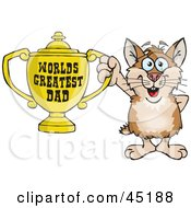 Royalty Free RF Clipart Illustration Of A Hamster Character Holding A Golden Worlds Greatest Dad Trophy