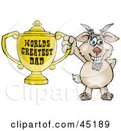 Royalty Free RF Clipart Illustration Of A Goat Character Holding A Golden Worlds Greatest Dad Trophy