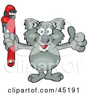 Royalty Free RF Clipart Illustration Of A Koala Character Holding A Red Wrench by Dennis Holmes Designs