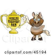Royalty Free RF Clipart Illustration Of A Horse Character Holding A Golden Worlds Greatest Dad Trophy