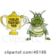 Royalty Free RF Clipart Illustration Of A Grasshopper Character Holding A Golden Worlds Greatest Dad Trophy