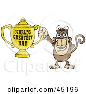 Royalty Free RF Clipart Illustration Of A Monkey Character Holding A Golden Worlds Greatest Dad Trophy