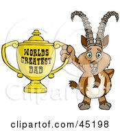 Royalty Free RF Clipart Illustration Of An Ibex Goat Character Holding A Golden Worlds Greatest Dad Trophy
