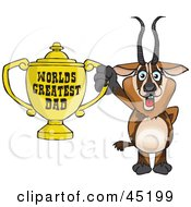 Royalty Free RF Clipart Illustration Of A Gazelle Character Holding A Golden Worlds Greatest Dad Trophy