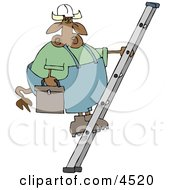 Repairman Cow Climbing Up A Ladder With A Toolbox