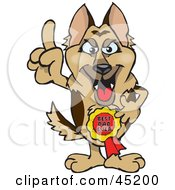 Royalty Free RF Clipart Illustration Of A German Shepherd Character Wearing A Best Dad Ever Ribbon by Dennis Holmes Designs