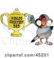 Royalty Free RF Clipart Illustration Of A Java Finch Bird Character Holding A Golden Worlds Greatest Dad Trophy