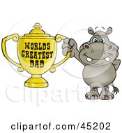 Royalty Free RF Clipart Illustration Of A Hippo Character Holding A Golden Worlds Greatest Dad Trophy