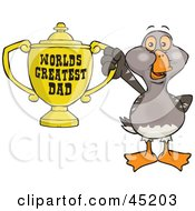 Goose Bird Character Holding A Golden Worlds Greatest Dad Trophy