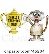 Royalty Free RF Clipart Illustration Of A Meerkat Character Holding A Golden Worlds Greatest Dad Trophy by Dennis Holmes Designs