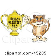 Royalty Free RF Clipart Illustration Of A Leopard Wildcat Character Holding A Golden Worlds Greatest Dad Trophy