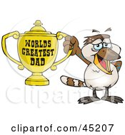 Royalty Free RF Clipart Illustration Of A Kookaburra Bird Character Holding A Golden Worlds Greatest Dad Trophy by Dennis Holmes Designs