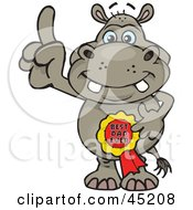 Royalty Free RF Clipart Illustration Of A Hippo Character Wearing A Best Dad Ever Ribbon
