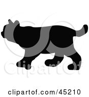 Royalty Free RF Clipart Illustration Of A Profiled Black Bobcat Silhouette by JR